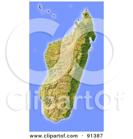 Royalty-Free (RF) Clipart Illustration of a Shaded Relief Map Of Madagascar by Michael Schmeling