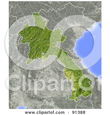 Royalty-Free (RF) Clipart Illustration of a Shaded Relief Map Of Laos by Michael Schmeling