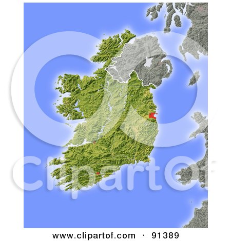 Royalty-Free (RF) Clipart Illustration of a Shaded Relief Map Of Ireland by Michael Schmeling