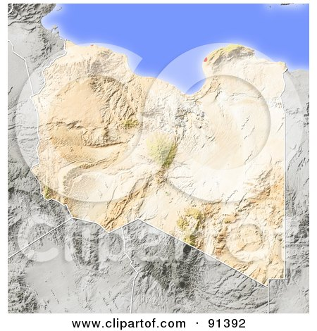 Royalty-Free (RF) Clipart Illustration of a Shaded Relief Map Of Libya by Michael Schmeling