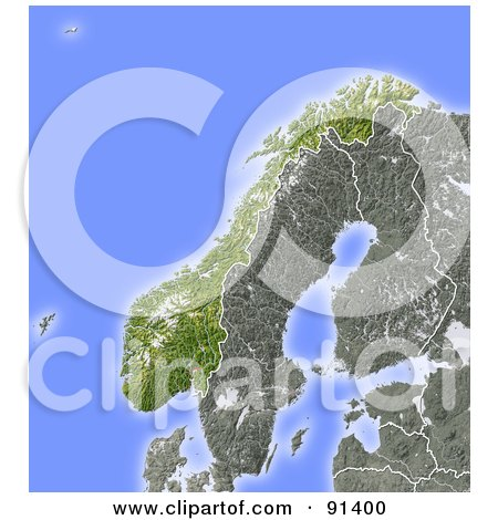 Royalty-Free (RF) Clipart Illustration of a Shaded Relief Map Of Norway by Michael Schmeling