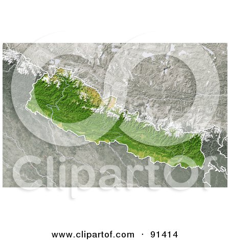 Royalty-Free (RF) Clipart Illustration of a Shaded Relief Map Of Nepal by Michael Schmeling