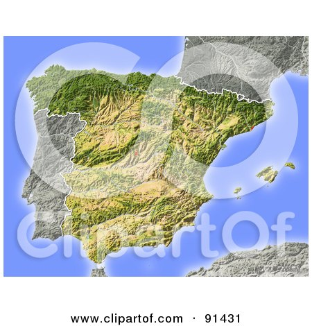 Royalty-Free (RF) Clipart Illustration of a Shaded Relief Map Of Spain by Michael Schmeling
