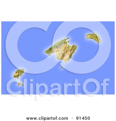 Royalty-Free (RF) Clipart Illustration of a Shaded Relief Map Of Mallorca by Michael Schmeling