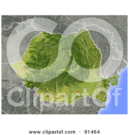 Royalty-Free (RF) Clipart Illustration of a Shaded Relief Map Of ...