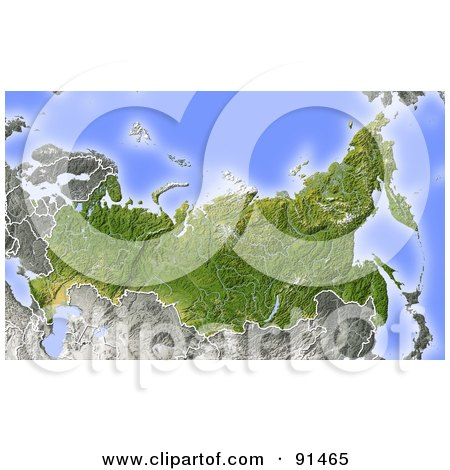 Royalty-Free (RF) Clipart Illustration of a Shaded Relief Map Of Russia by Michael Schmeling