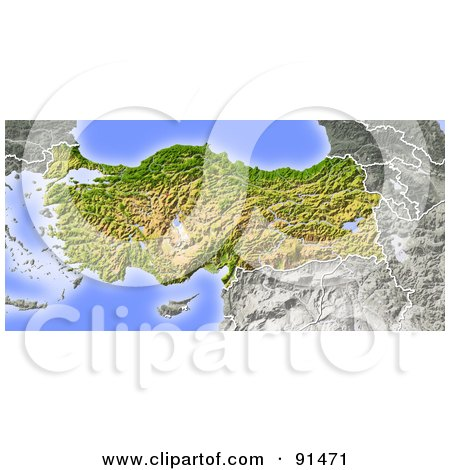 Royalty-Free (RF) Clipart Illustration of a Shaded Relief Map Of Turkey by Michael Schmeling
