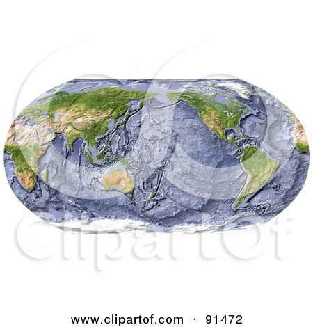 Royalty-Free (RF) Clipart Illustration of a World Map, Shaded Relief In Robinson Projection, With Shaded Ocean Floor, Centered On The Pacific by Michael Schmeling