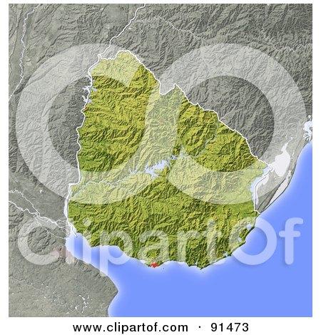RoyaltyFree RF Uruguay Clipart Illustrations Vector Graphics - Uruguay relief map