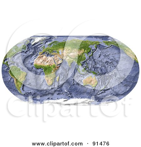 Royalty-Free (RF) Clipart Illustration of a Robinson Projection Wold Map Centered On India, With Shaded Ocean Floor by Michael Schmeling
