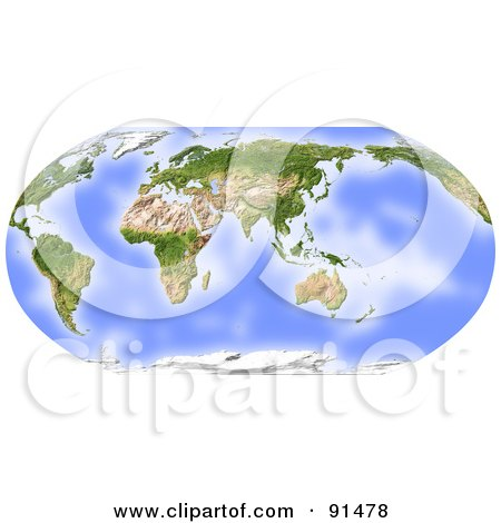 Royalty-Free (RF) Clipart Illustration of a World Map, Shaded Relief In Robinson Projection, Centered On India by Michael Schmeling