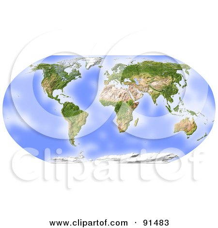 Royalty-Free (RF) Clipart Illustration of a World Map, Shaded Relief In Robinson Projection, Centered On Africa by Michael Schmeling