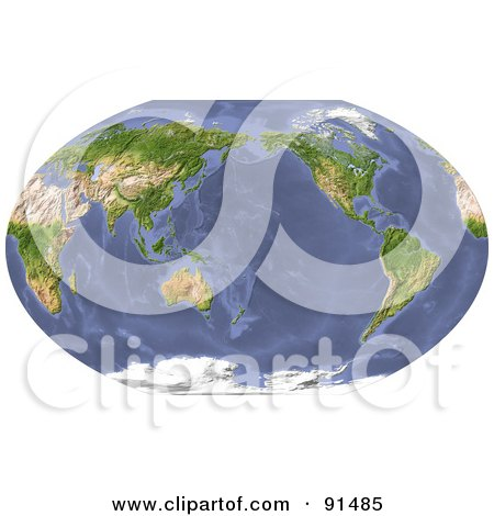 Royalty-Free (RF) Clipart Illustration of a World Map, Shaded Relief, Centered On The Pacific by Michael Schmeling