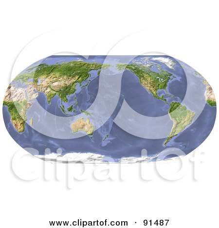 Royalty-Free (RF) Clipart Illustration of a World Map, Shaded Relief In Robinson Projection, Centered On The Pacific by Michael Schmeling