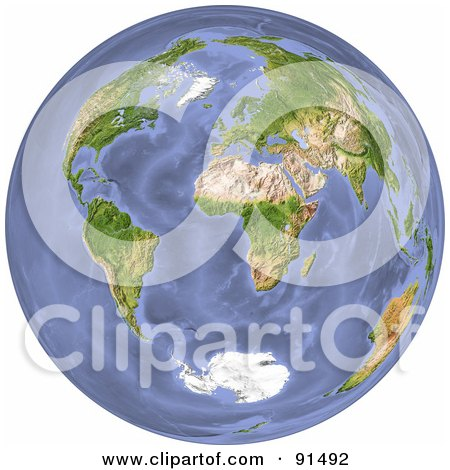 Royalty-Free (RF) Clipart Illustration of a 3d World With Continents And Oceans by Michael Schmeling