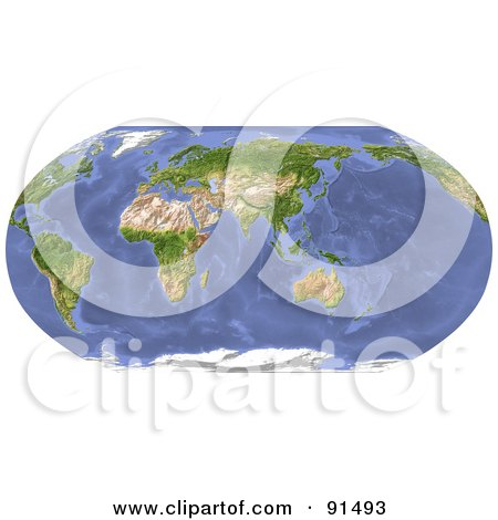 Royalty-Free (RF) Clipart Illustration of a Robinson Projection World Map Centered On India by Michael Schmeling