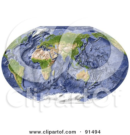 Royalty-Free (RF) Clipart Illustration of a World Map, Shaded Relief, Centered On India, With Shaded Ocean Floor by Michael Schmeling