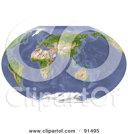 Royalty-Free (RF) Clipart Illustration of a World Map, Shaded Relief, Centered On India by Michael Schmeling