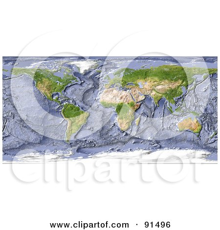 Royalty-Free (RF) Clipart Illustration of a Shaded Relief World Map With A Shaded Ocean Floor by Michael Schmeling