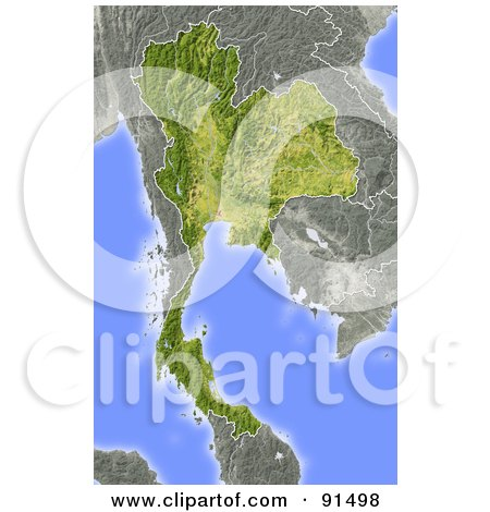 Royalty-Free (RF) Clipart Illustration of a Shaded Relief Map Of Thailand by Michael Schmeling