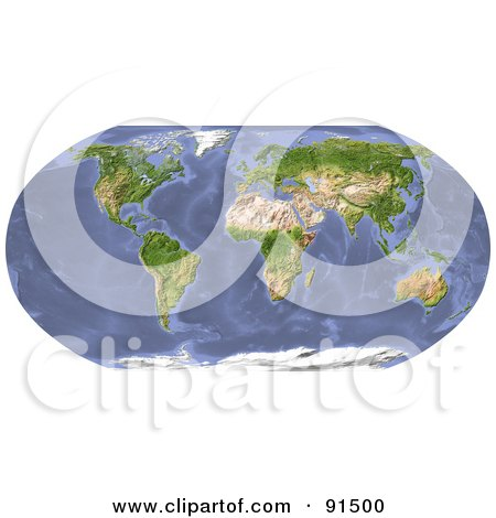 Royalty-Free (RF) Clipart Illustration of a Shaded Relieve World Map by Michael Schmeling