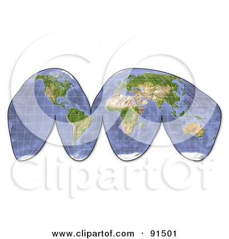 Royalty-Free (RF) Clipart Illustration of a Shaded Relief World Map by Michael Schmeling