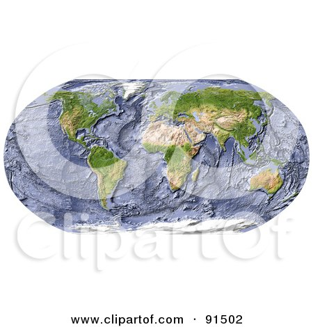 Royalty-Free (RF) Clipart Illustration of a World Map With A Textured Ocean Floor by Michael Schmeling