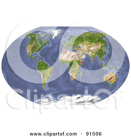 Royalty-Free (RF) Clipart Illustration of a World Map, Shaded Relief. by Michael Schmeling