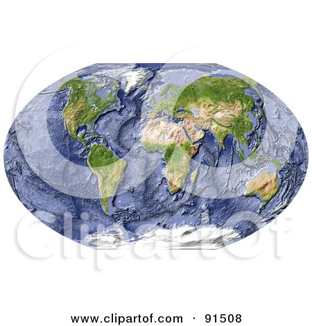 Royalty-Free (RF) Clipart Illustration of a World Map, Shaded Relief, With Shaded Ocean Floor by Michael Schmeling