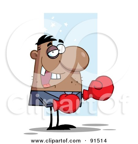 Royalty-Free (RF) Clipart Illustration of an African American Boxer Businessman With A Black Eye And Missing Teeth by Hit Toon