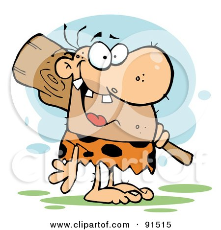Royalty-Free (RF) Clipart Illustration of a Toothy Neanderthal Caveman Grinning And Carrying A Club Over His Shoulder by Hit Toon