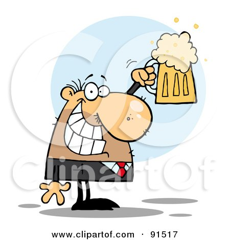Royalty-Free (RF) Clipart Illustration of a Caucasian Businessman Grinning And Holding Up A Pint Of Beer by Hit Toon