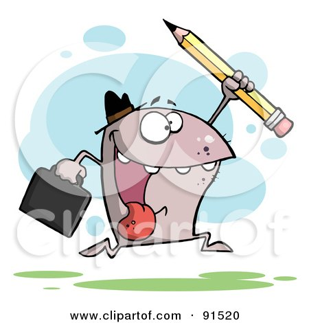 Royalty-Free (RF) Clipart Illustration of a Shark Business Man Running With A Briefcase And Pencil by Hit Toon