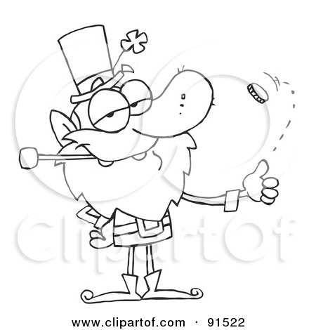 Royalty-Free (RF) Clipart Illustration of an Outlined Leprechaun Flipping A Coin by Hit Toon