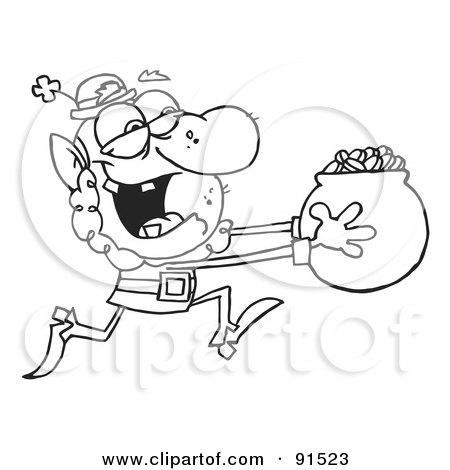 Royalty-Free (RF) Clipart Illustration of an Outlined Leprechaun Running With A Pot Of Gold Coins by Hit Toon