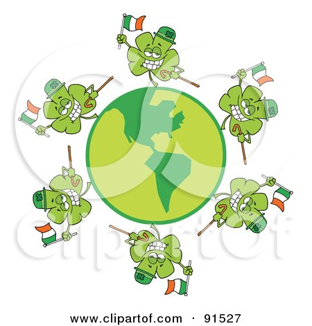 Royalty-Free (RF) Clipart Illustration of a Circle Of Shamrocks Running Around A Globe With Irish Flags, Hats And Canes by Hit Toon
