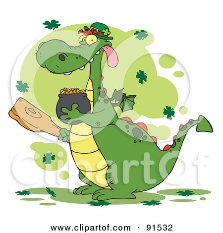 Royalty-Free (RF) Clipart Illustration of a Dragon Leprechaun With Clovers, Holding A Mace And Pot Of Gold by Hit Toon