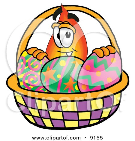 Clipart Picture of a Flame Mascot Cartoon Character in an Easter Basket Full of Decorated Easter Eggs by Toons4Biz