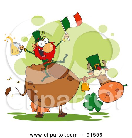 Leprechaun Holding Up A Flag And Beer And Sitting On A Cow Posters, Art Prints