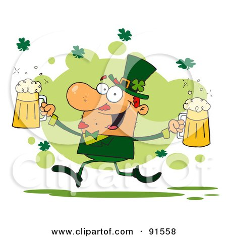 Royalty-Free (RF) Clipart Illustration of a Male Leprechaun Running Through Shamrocks With Beers by Hit Toon