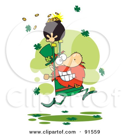 Royalty-Free (RF) Clipart Illustration of a Greedy Leprechaun Running Through Shamrocks With A Pot Of Gold Over His Head by Hit Toon