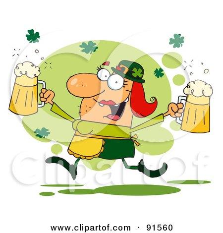 Female Leprechaun Running Through Shamrocks With Beers Posters, Art Prints