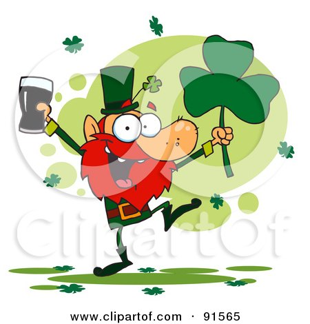 Dancing Leprechaun Holding A Shamrock And Beer Posters, Art Prints