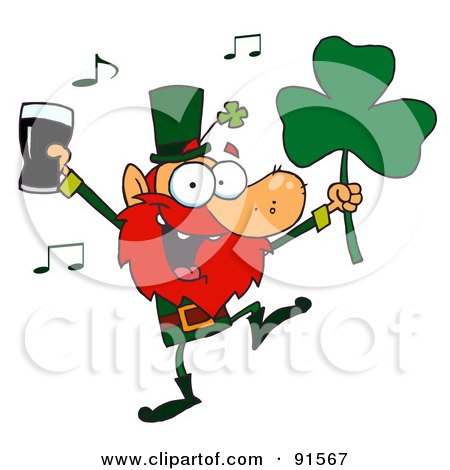 Royalty-Free (RF) Clipart Illustration of a Dancing Leprechaun Holding A Clover And Beer by Hit Toon