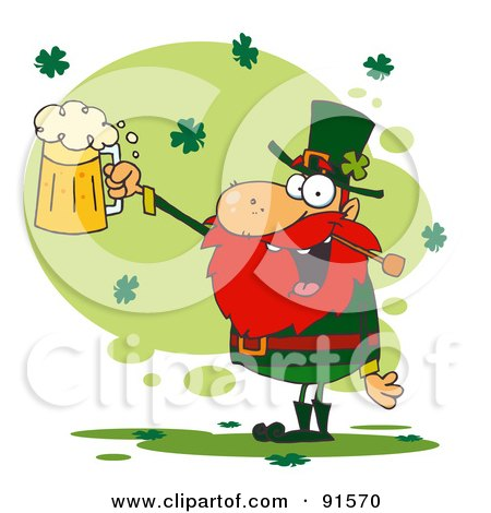 Royalty-Free (RF) Clipart Illustration of a Toasting Leprechaun Holding Up A Pint Of Beer by Hit Toon