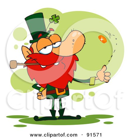 Royalty Free RF Clipart Illustration Of A Leprechaun Smoking A Pipe And Flipping A Lucky Coin