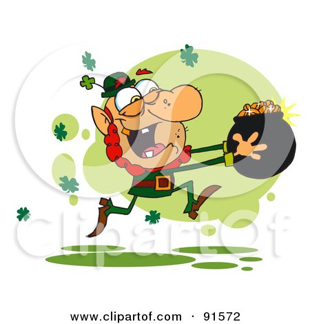 Royalty-Free (RF) Clipart Illustration of a Greedy Leprechaun Running Through Shamrocks With A Pot Of Golden Coins by Hit Toon