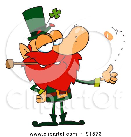 Royalty-Free (RF) Clipart Illustration of a Leprechaun Smoking A Pipe And Flipping A Gold Coin by Hit Toon