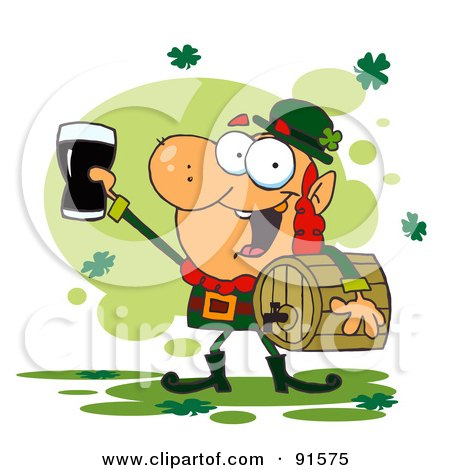 Royalty-Free (RF) Clipart Illustration of a Leprechaun Toasting Carrying A Keg And Toasting With A Glass by Hit Toon