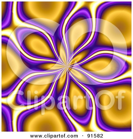 Royalty-Free (RF) Clipart Illustration of a Funky Orange And Purple Floral Vortex Background by Arena Creative